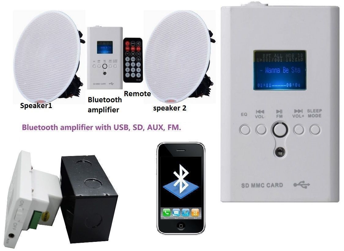 Wireless Bluetooth Ceiling Speakers Stereo Kit FM USB AUX remote SD ...